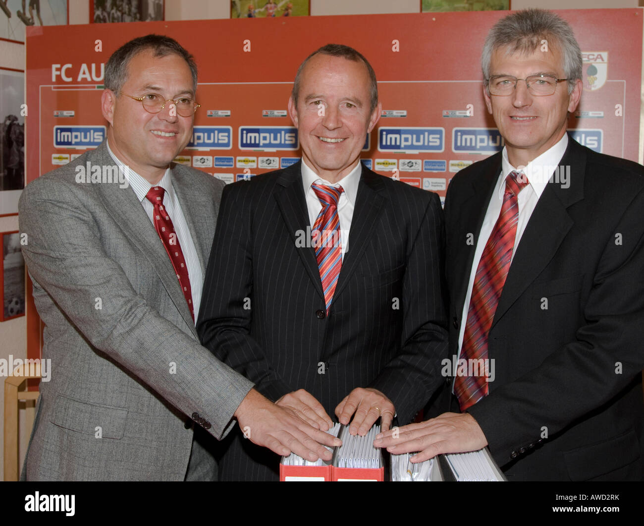 FC Augsburg, German soccer club and the HBM Stadien- und Sportstaettenbau GmbH signed a contract for the new 'impuls - Stock Image