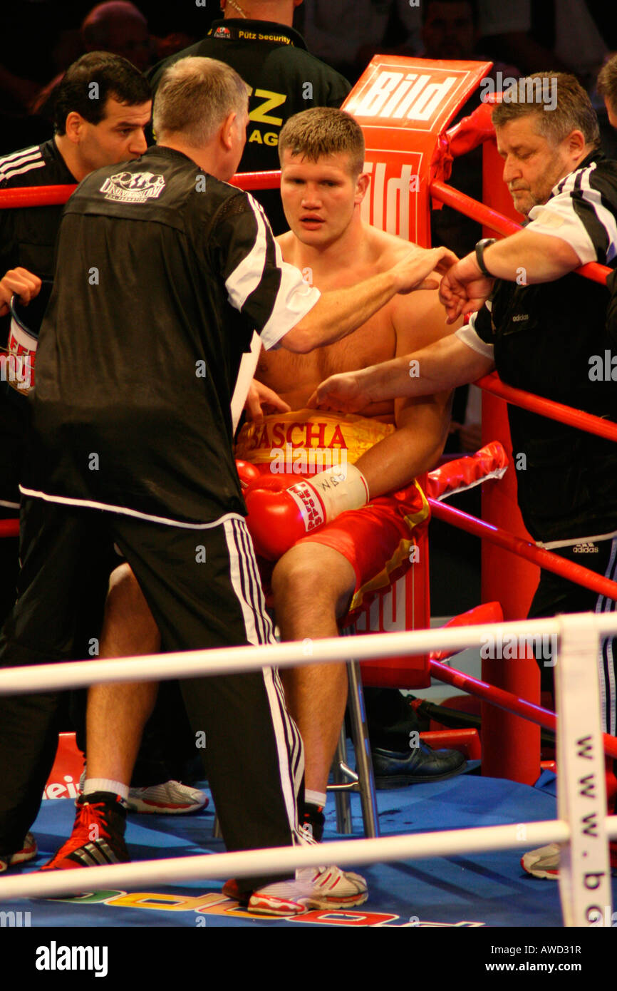 Boxer Alexander Dimitrenko during a heavyweight fight against Timo Hoffmann, Universum Champions Night, Magdeburg, - Stock Image
