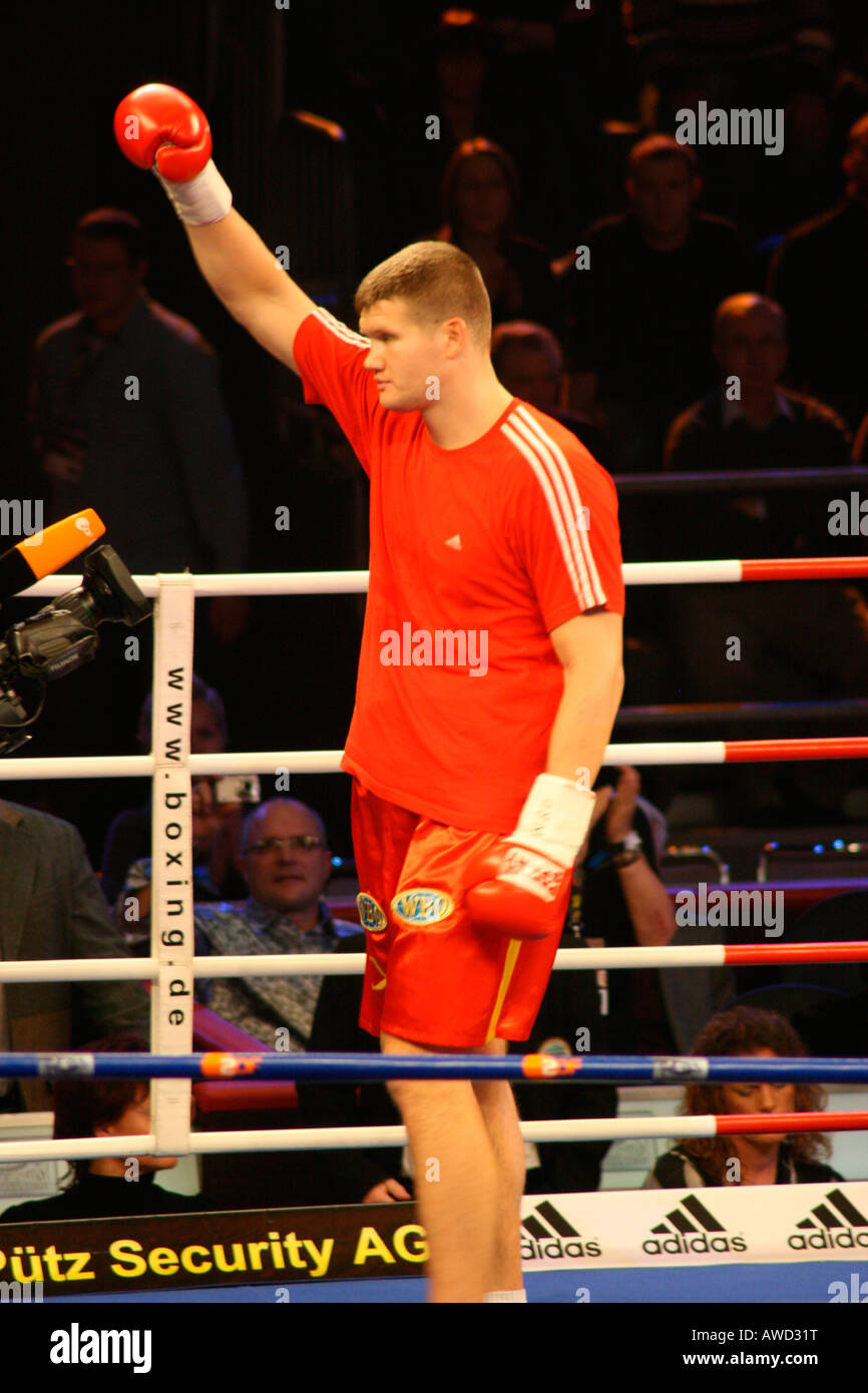 Boxer Alexander Dimitrenko prior to a heavyweight fight against Timo Hoffmann, Universum Champions Night, Magdeburg, - Stock Image