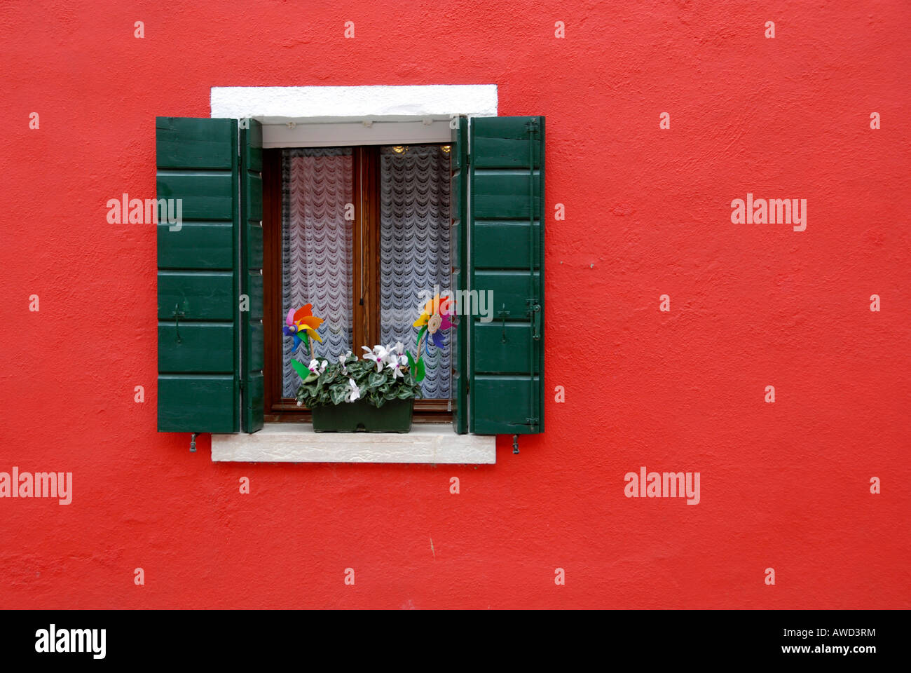 Window, Burano Island, Venice, Italy, Europe Stock Photo