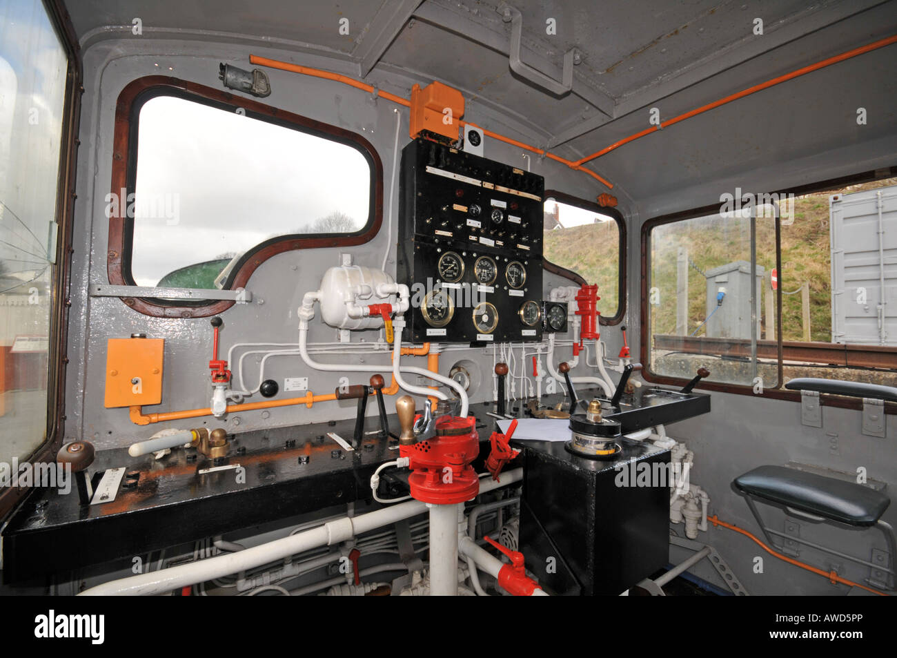Inside diesel train at Ecclesbourne valley railway in Wirksworth Peak District Derbyshire Stock Photo