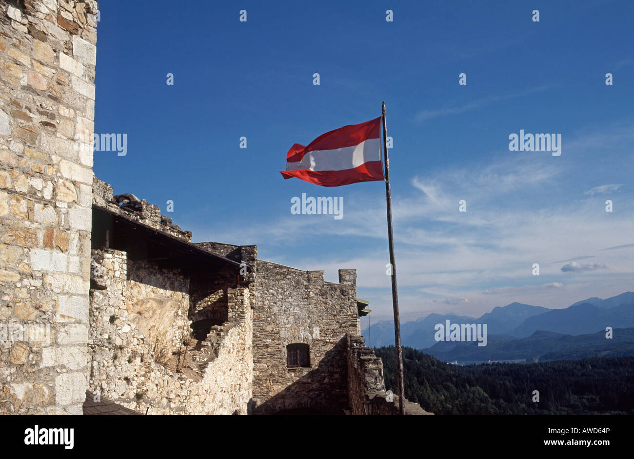 Austrian flag on Mt. Landskron, Carinthia, Austria, Europe Stock Photo