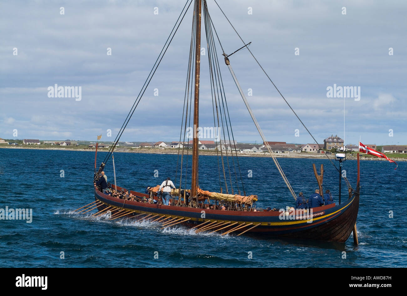 dh Sea Stallion KIRKWALL BAY ORKNEY Longship Havhingsten fra Glendalough Viking galley oar long boat ship - Stock Image