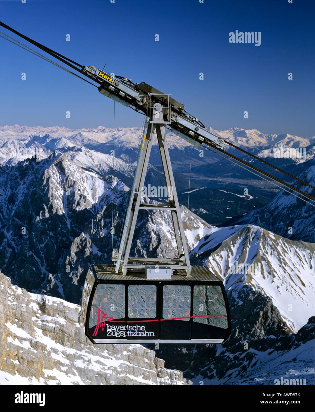 Gondola lift up the Zugspitze, Germany's highest mountain, Wetterstein Range, Werdenfels Region, Upper Bavaria, - Stock Image