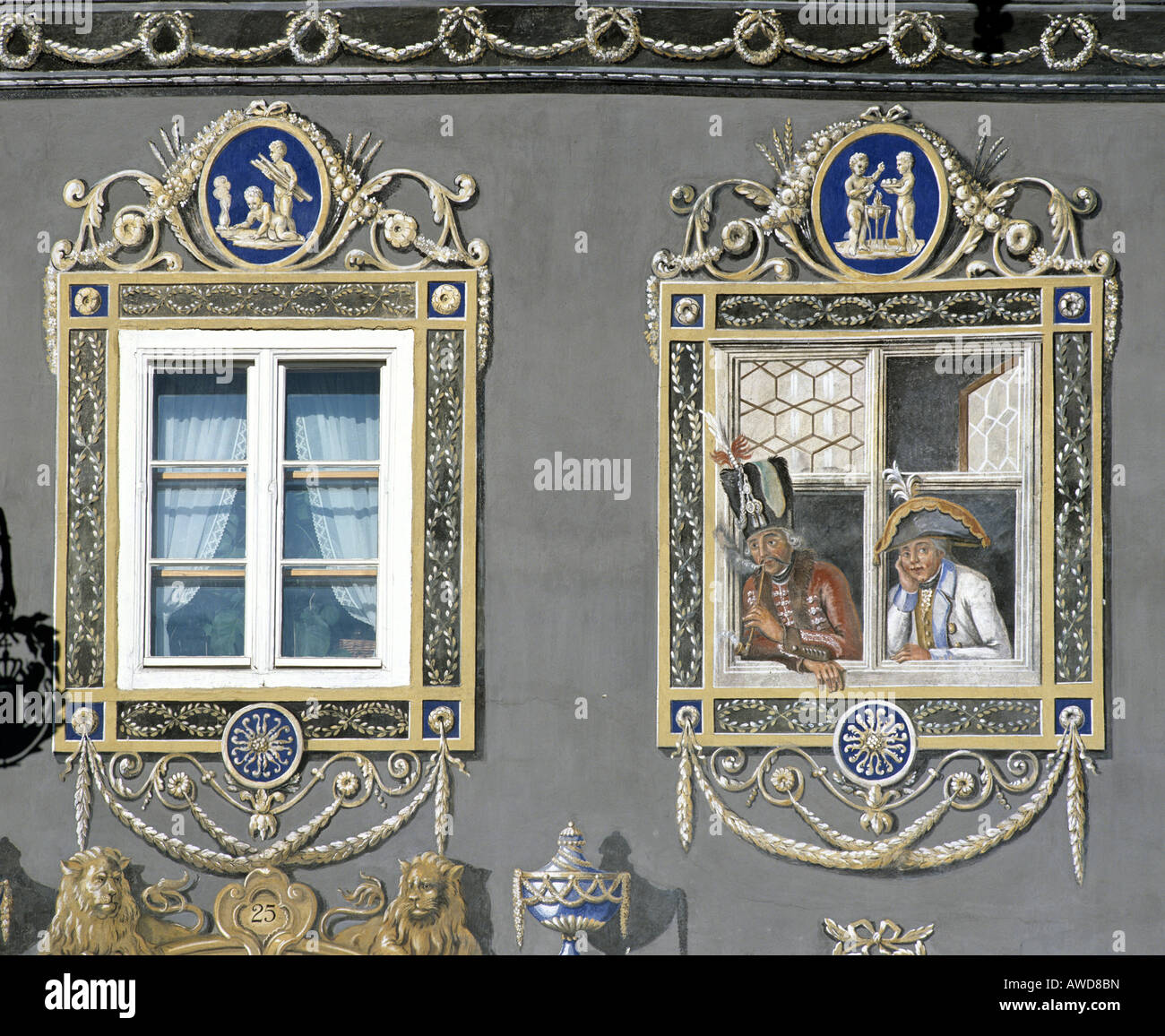 Garmisch-Partenkirchen, zum Husar Inn, painted windows, Upper Bavaria, Bavaria, Germany, Europe - Stock Image