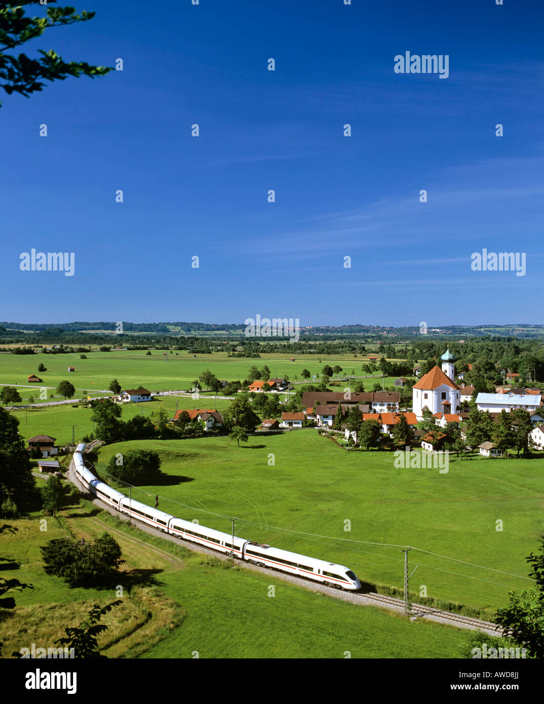 Panoramic view of Eschenlohe featuring the ICE Inter City Express high-speed train, Loisach Valley, Upper Bavaria, - Stock Image