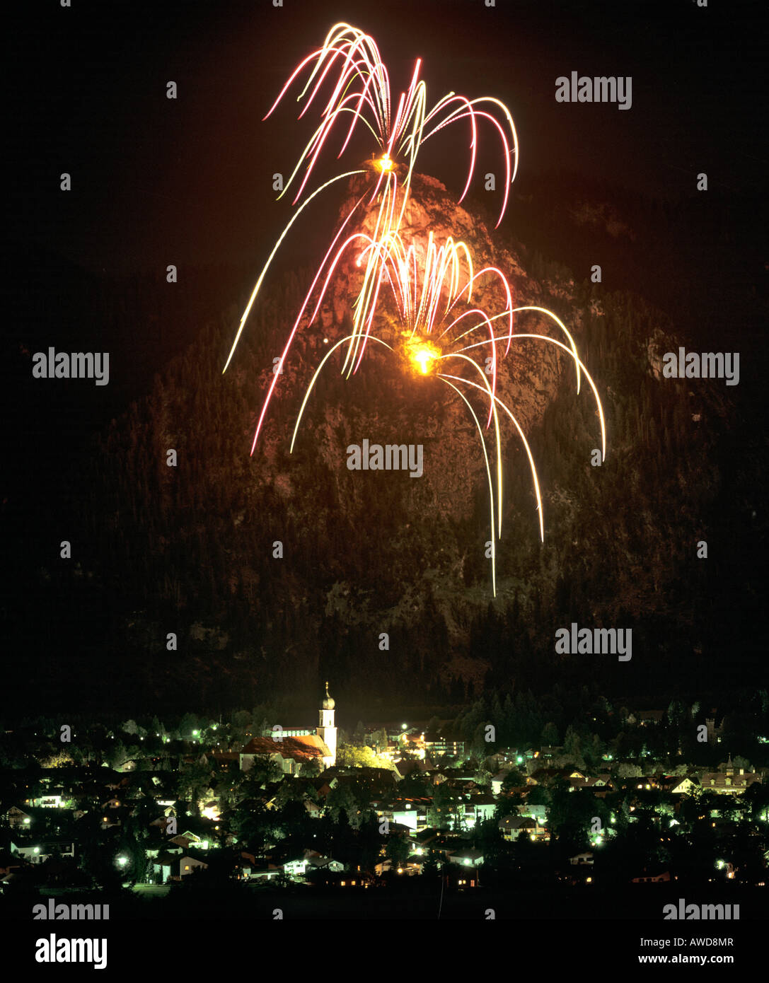 King Ludwig II of Bavaria fireworks at Mt. Kofel, Oberammergau, Upper Bavaria, Bavaria, Germany, Europe - Stock Image