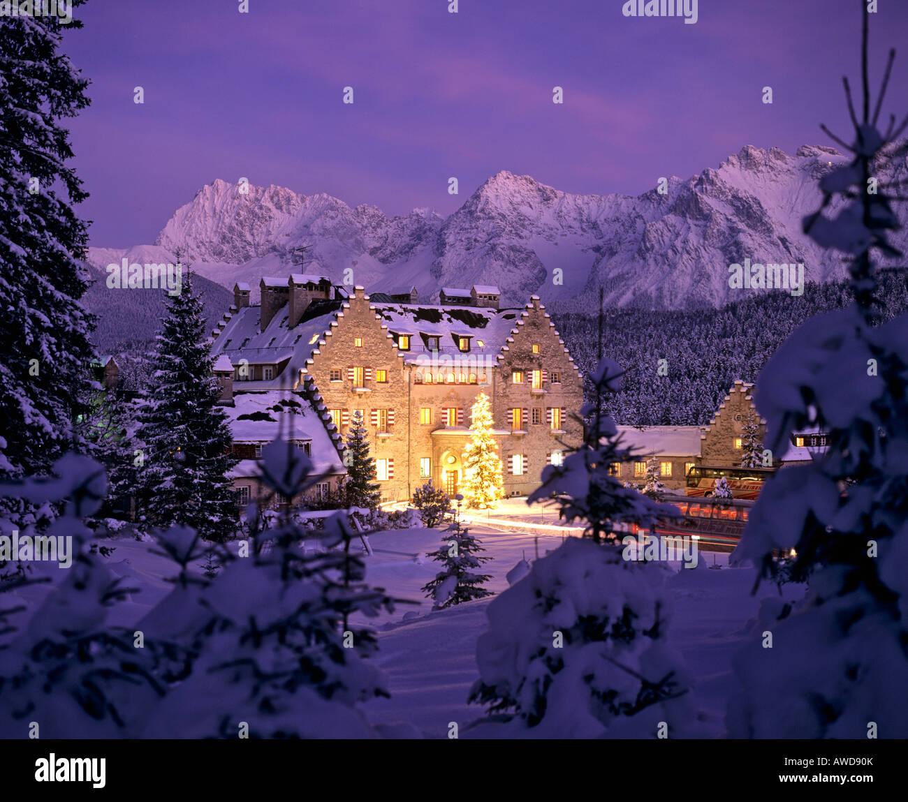 Kranzbach Castle in wintertime, Christmastime, Karwendel Range, Upper Bavaria, Bavaria, Germany, Europe - Stock Image