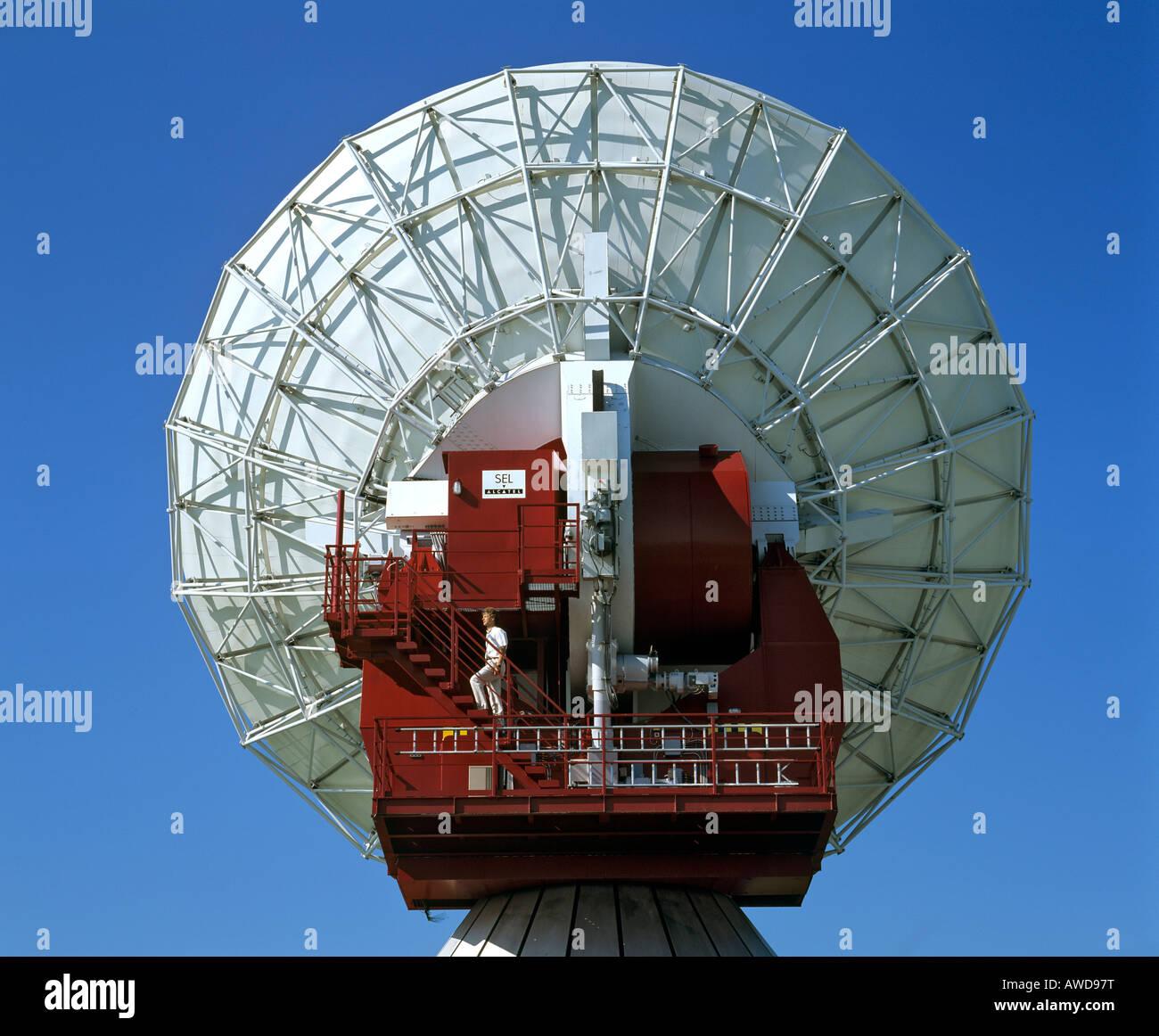 Antenna of the Satellite Earth Station Raisting, technician, Upper Bavaria, Bavaria, Germany Stock Photo