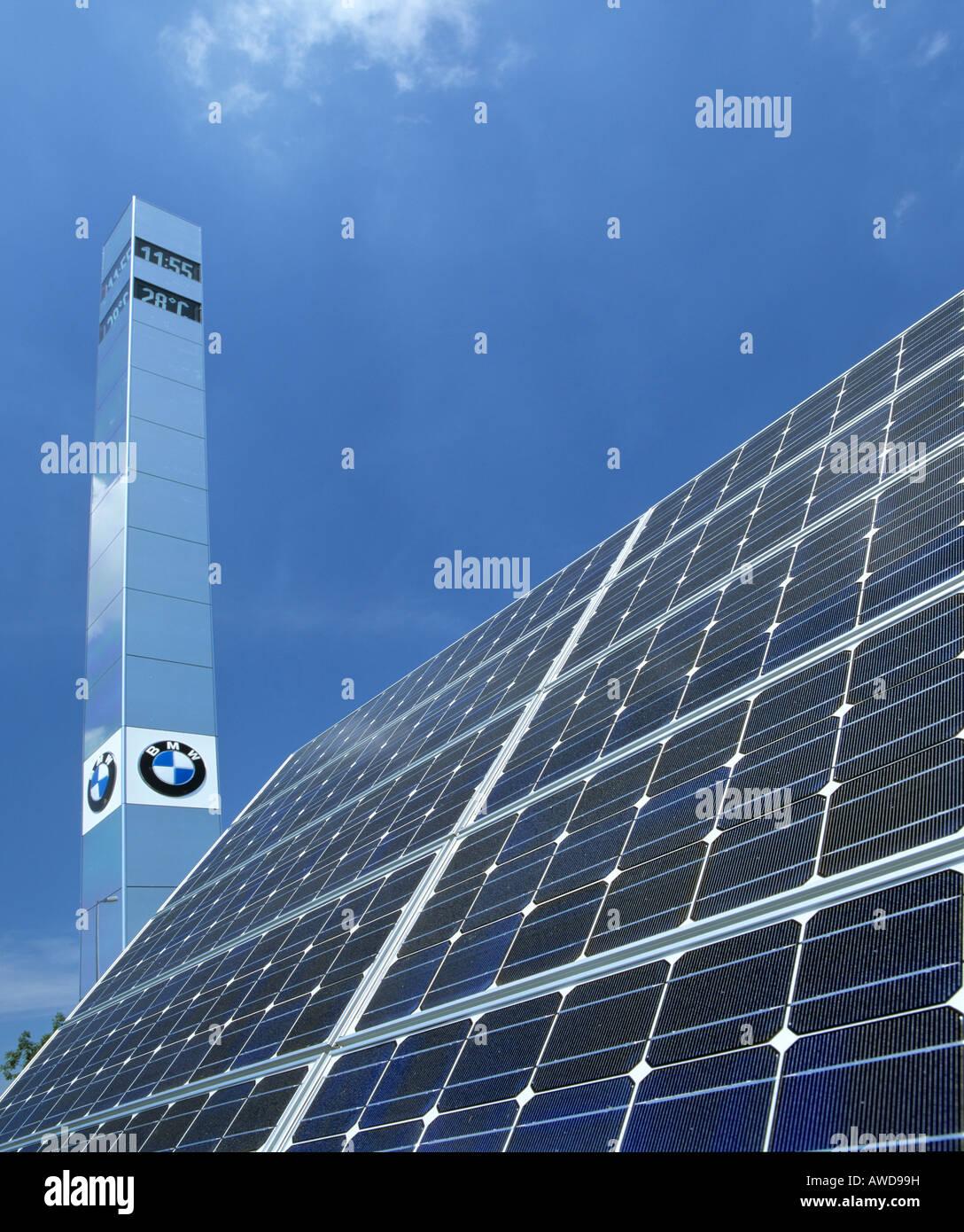 Solar panels at the Franz Josef Strauss Airport, Munich, Upper Bavaria, Germany - Stock Image