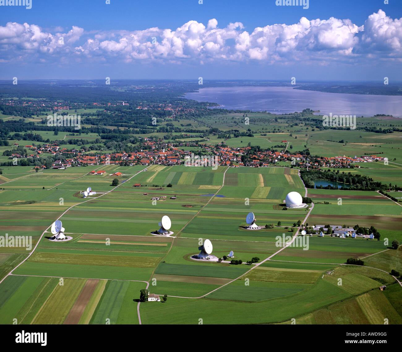 Satellite Earth Station Raisting, Ammersee (Lake Ammer), aerial view, Upper Bavaria, Bavaria, Germany - Stock Image