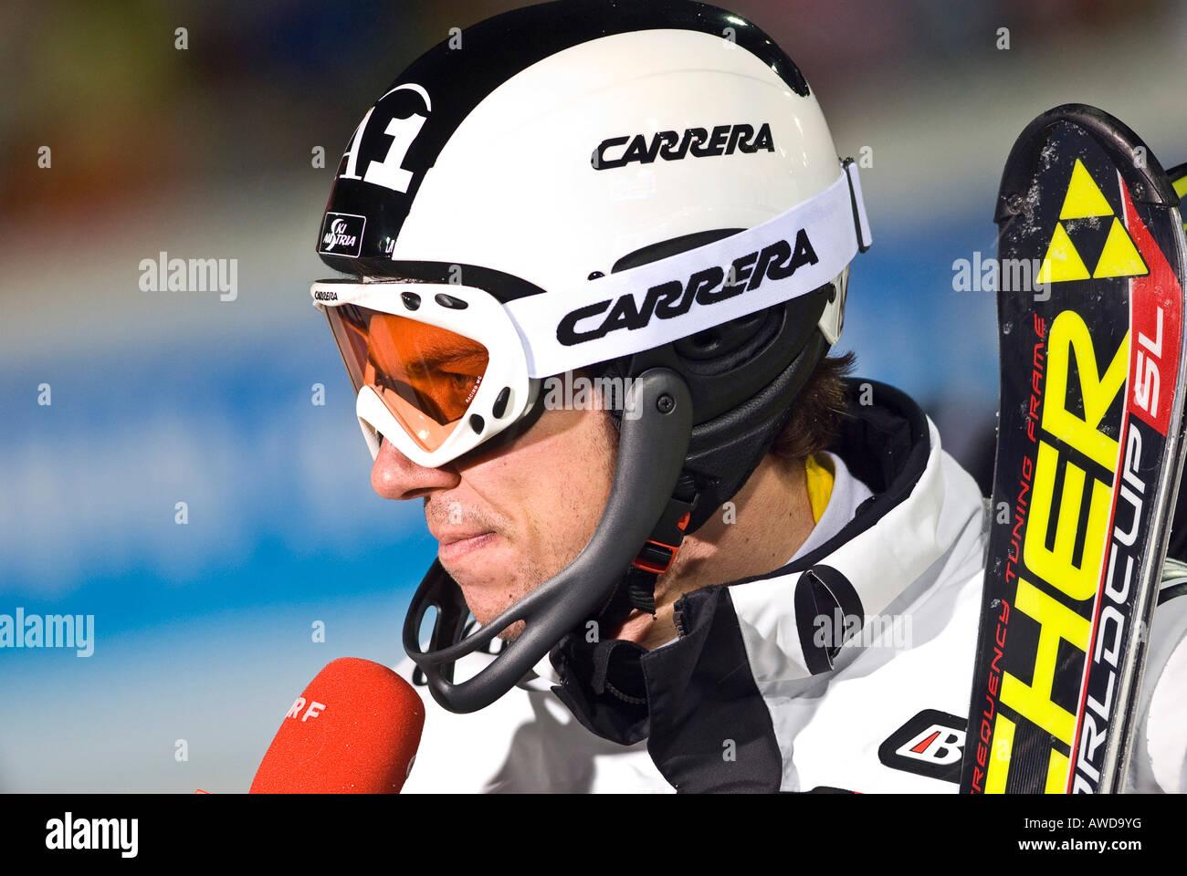 Winner Mario Matt, FIS Ski Worldcup, Slalom men, Schladming, 2008, Nightrace, Styria, Austria - Stock Image