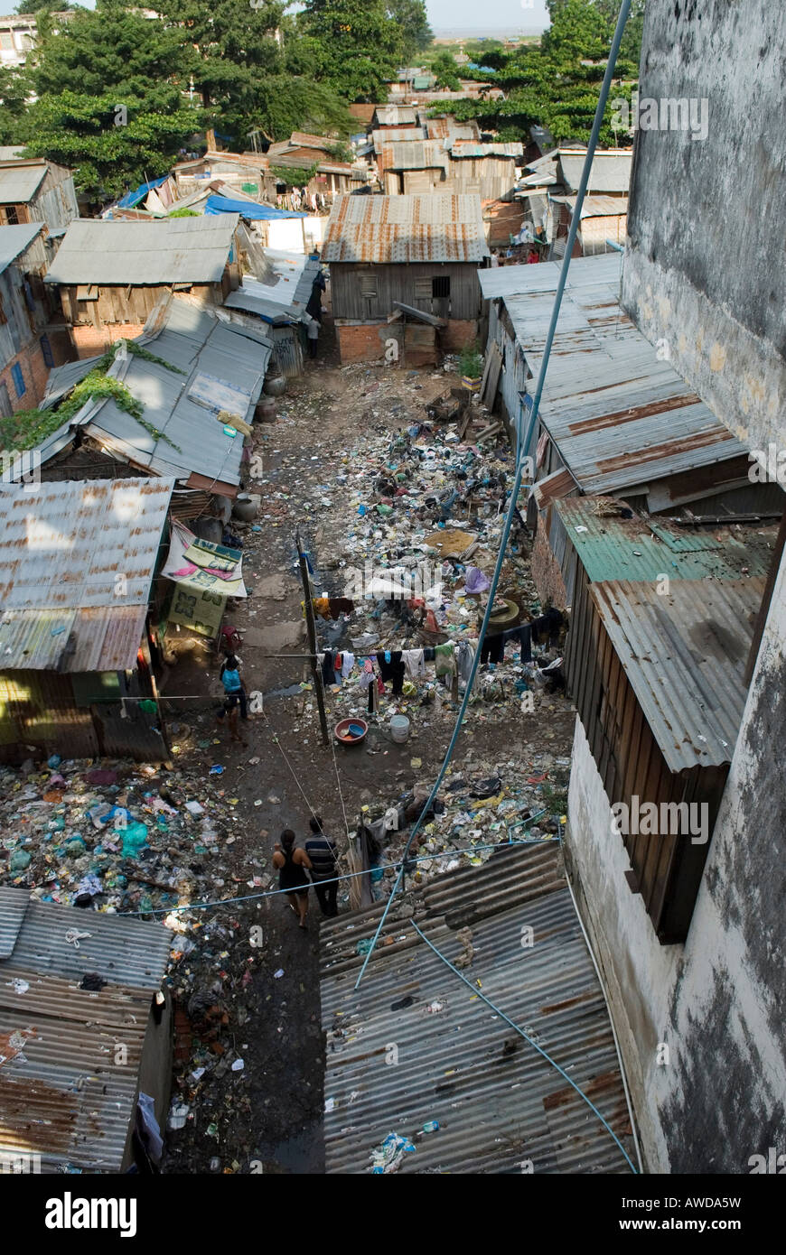 Dey Krahom slum area, Phnom Phen, Cambodia Stock Photo