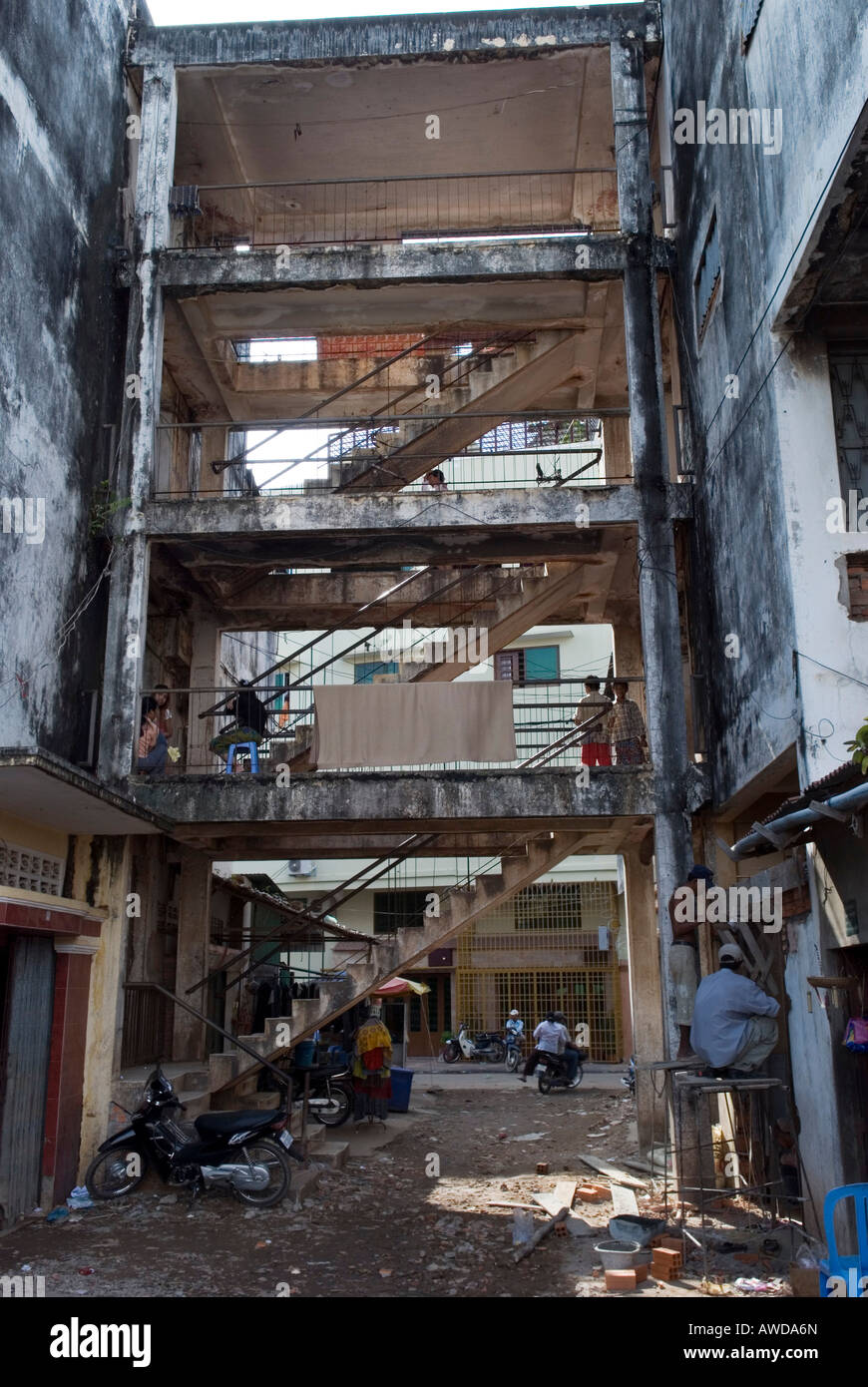 Staircase in a rotten appartment block, Dey Krahom slum area, Phnom Phen, Cambodia Stock Photo