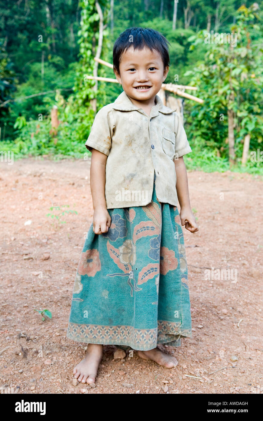 Portrait of a girl, refugee camp Ei Tu Hta, IDP-Area bordering Thailand near Mae Sariang, Birma - Stock Image