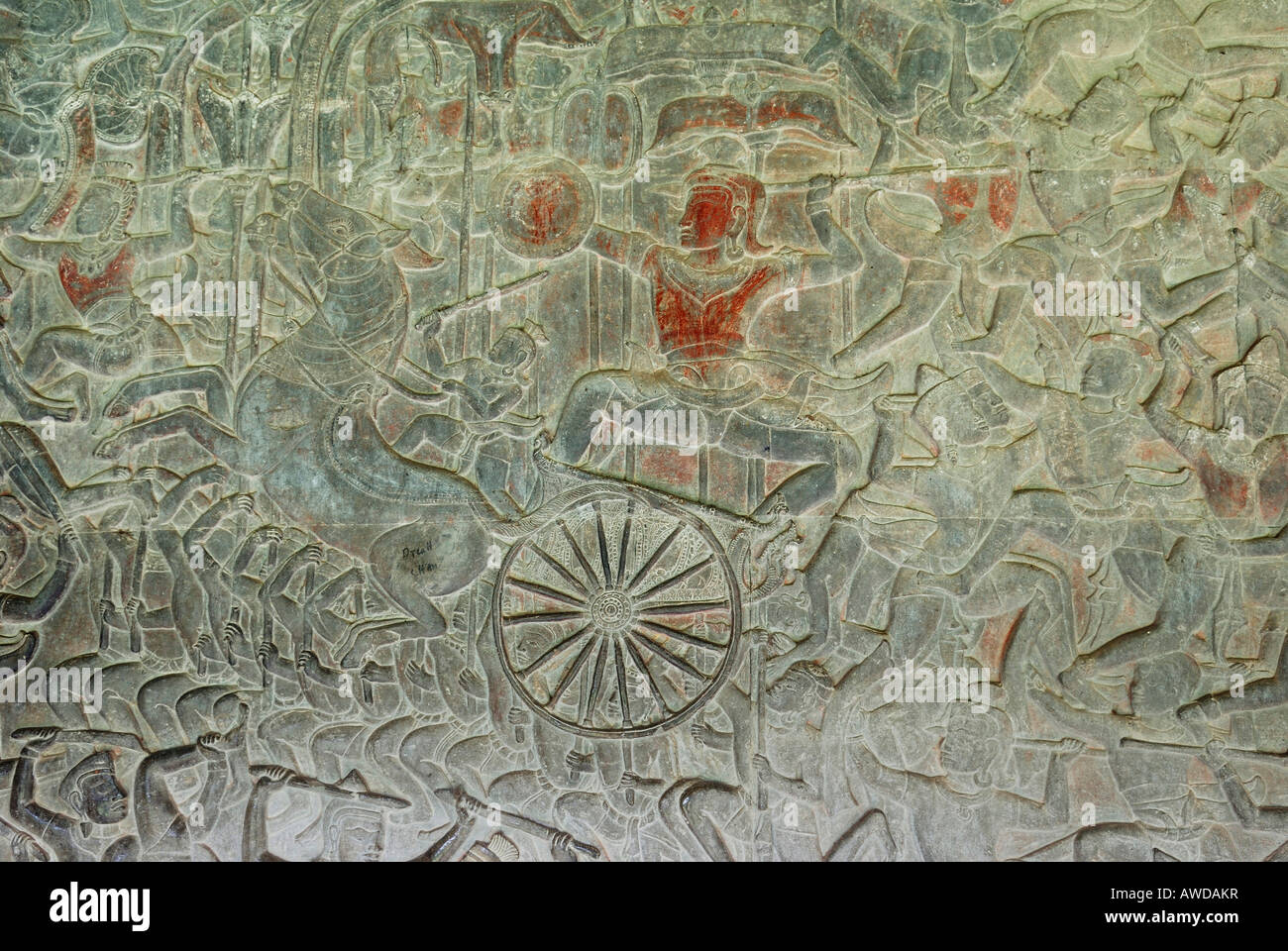 Bas-relief showing a battle scene, Angkor Wat temple, Cambodia - Stock Image