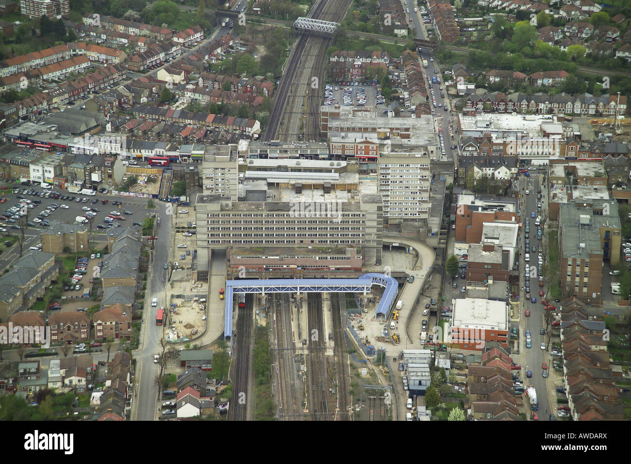 Aerial view of Wembley Central Station on the High Road in Wembley, Middlesex Stock Photo