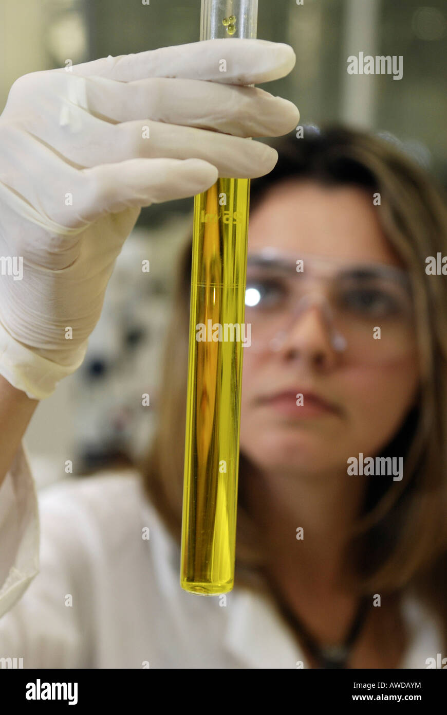 Quality control of Brazil nut oil from the Amazon rainforest in the laboratory of cosmetics company Natura, Belem, - Stock Image