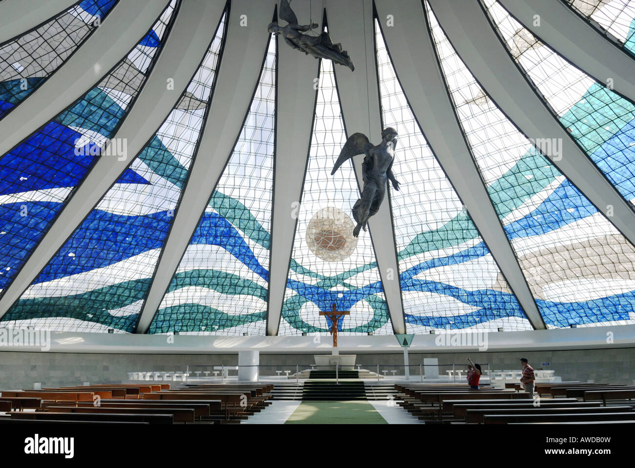 Inside the cathedral 'Nossa senhora da Aparecida', Brasilia, Brazil. Architect: Oscar Niemeyer - Stock Image