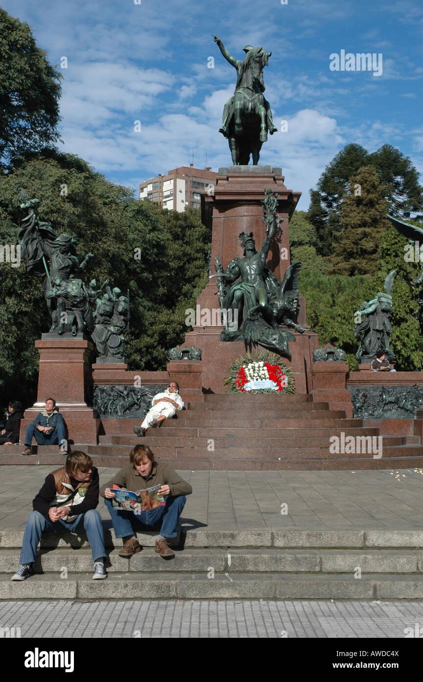 Monument for General San Martín at Plaza San Martín, Buenos Aires, Argentina - Stock Image
