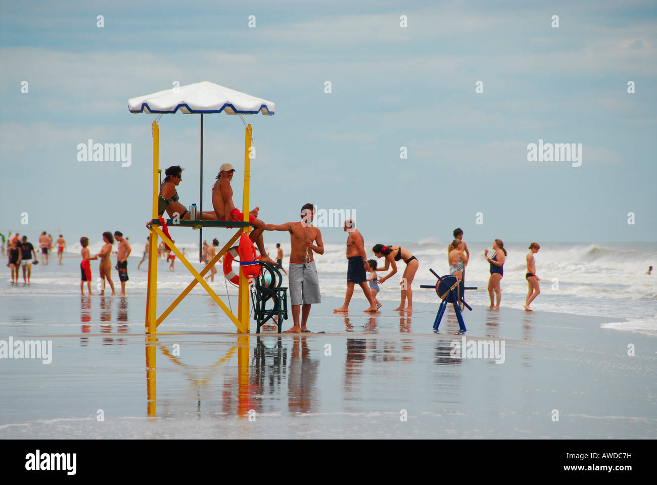 Beach at Pinamar, Buenos Aires province, Argentina - Stock Image