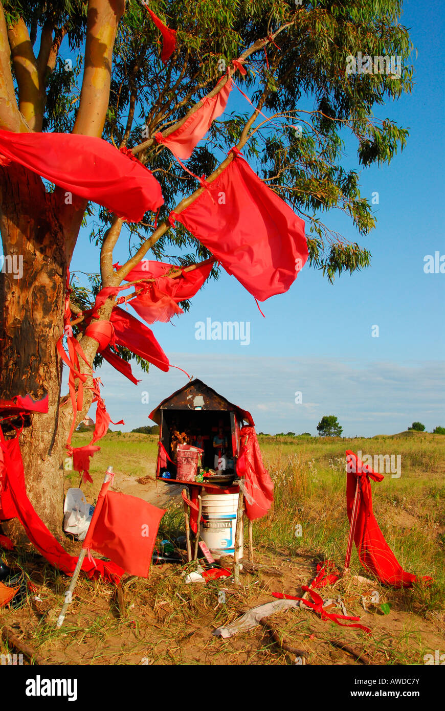 Memorial for Gauchito Gil (argentinian Robin Hood), near Mar Chiquita, Buenos Aires province, Argentina - Stock Image