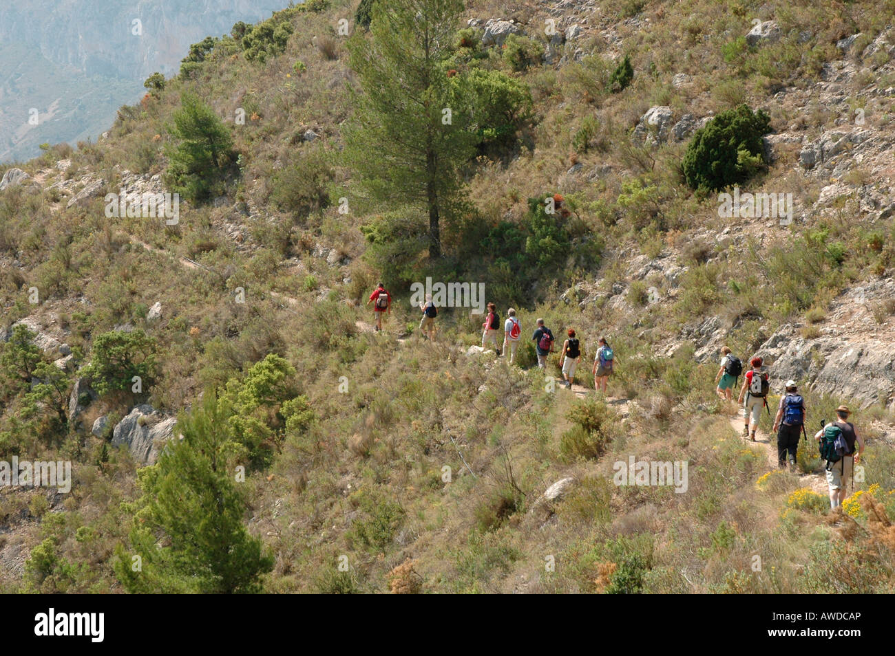Hiking group, Sierra de Aitana, Costa Blanca, Spain, Europe - Stock Image