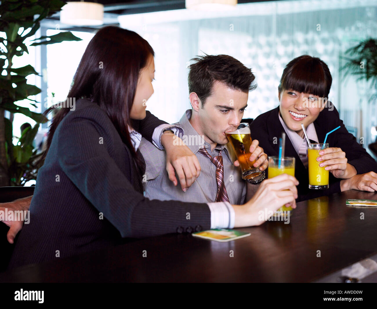 office colleagues at the bar after office hour - Stock Image