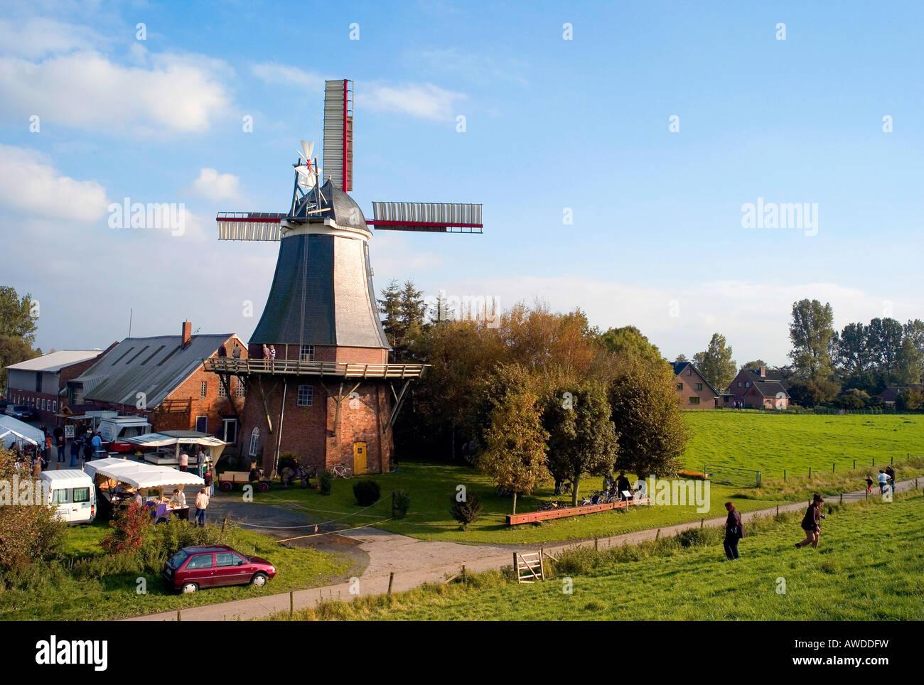 Windmill, Aschwarden, Lower Saxony, Germany - Stock Image