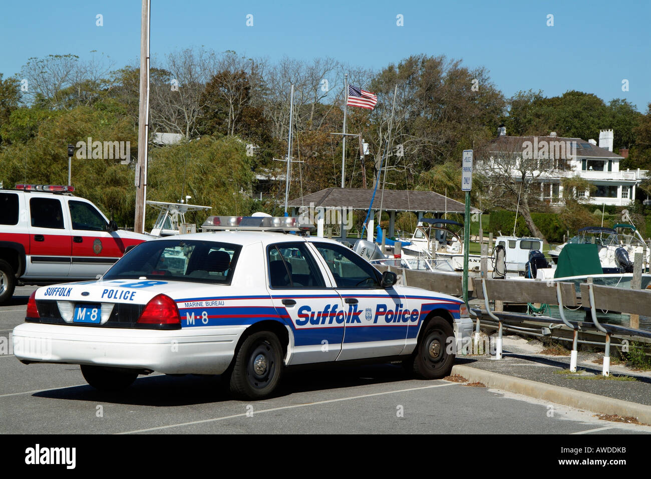 Long Island Bureau.Suffolk County Marine Bureau Police Car On Bellport Marina
