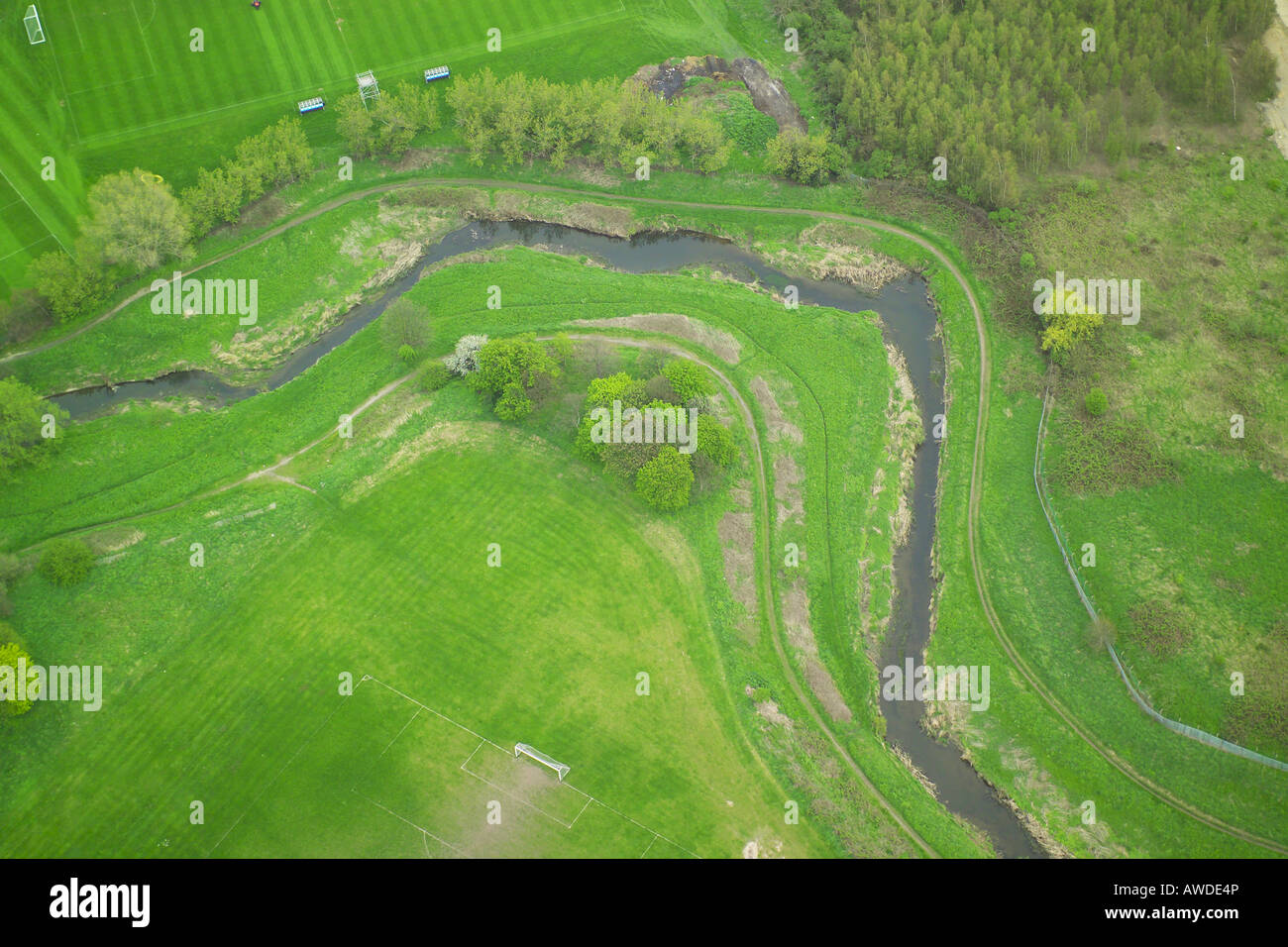 Aerial view of a bend in a river as it winds through the countryside Stock Photo