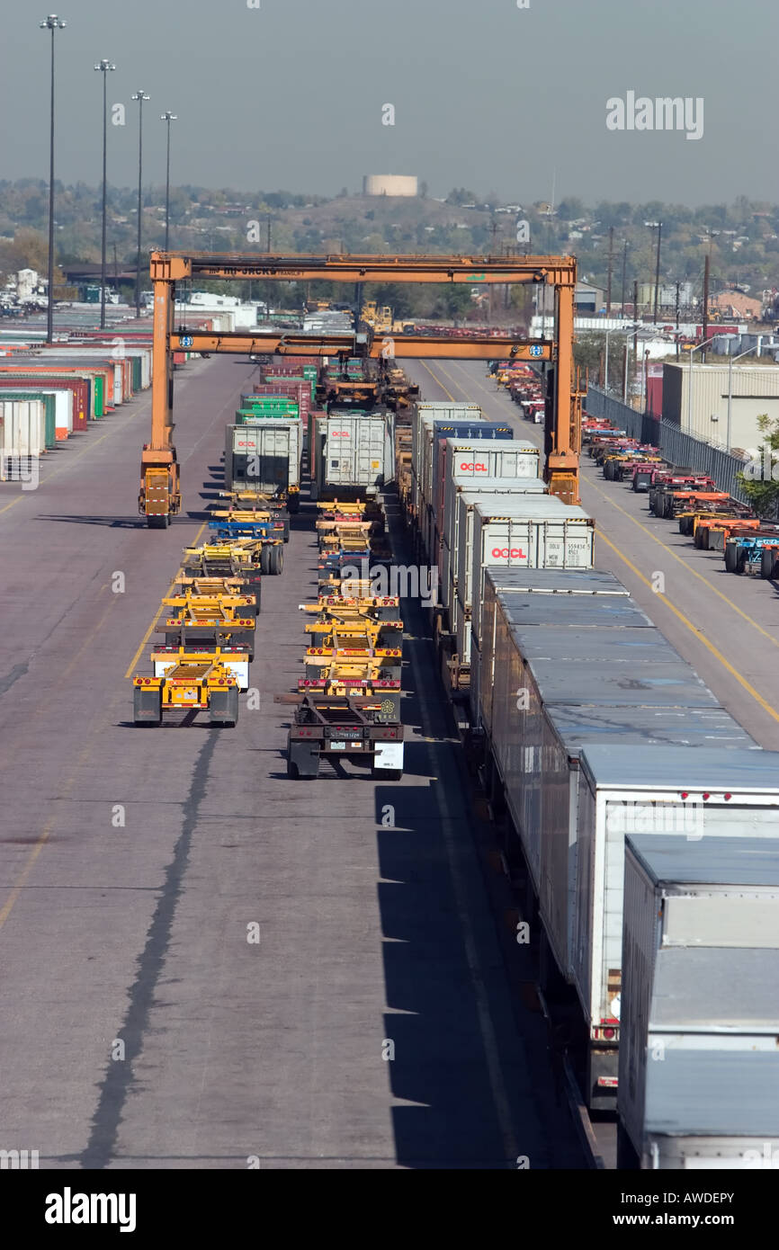 Intermodal containers are unloaded at the BNSF yard in