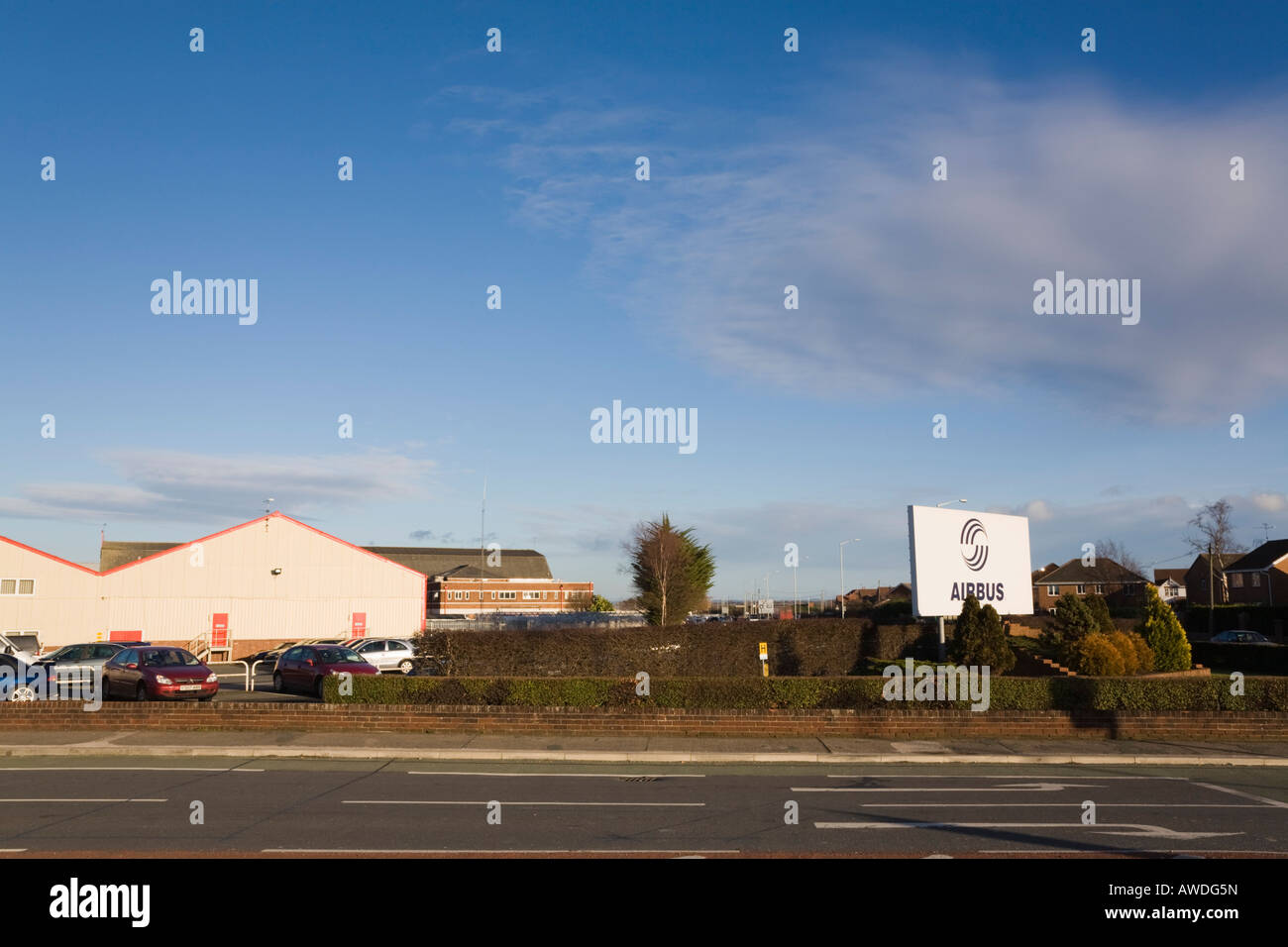 Broughton Flintshire North Wales UK British Aerospace Airbus aircraft factory wing manufacturing plant building - Stock Image