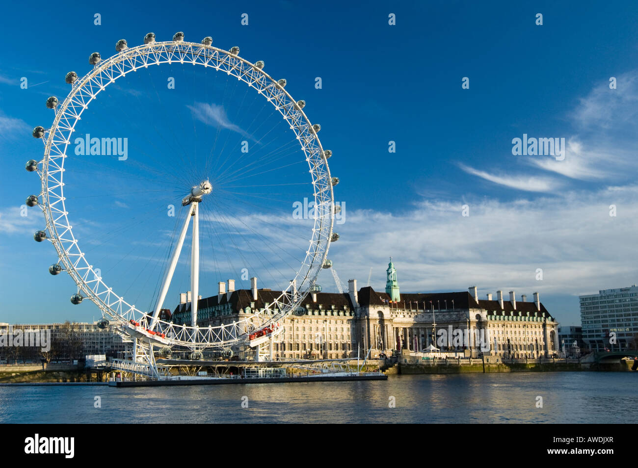 London Eye in the south bank of The River Thames - Stock Image