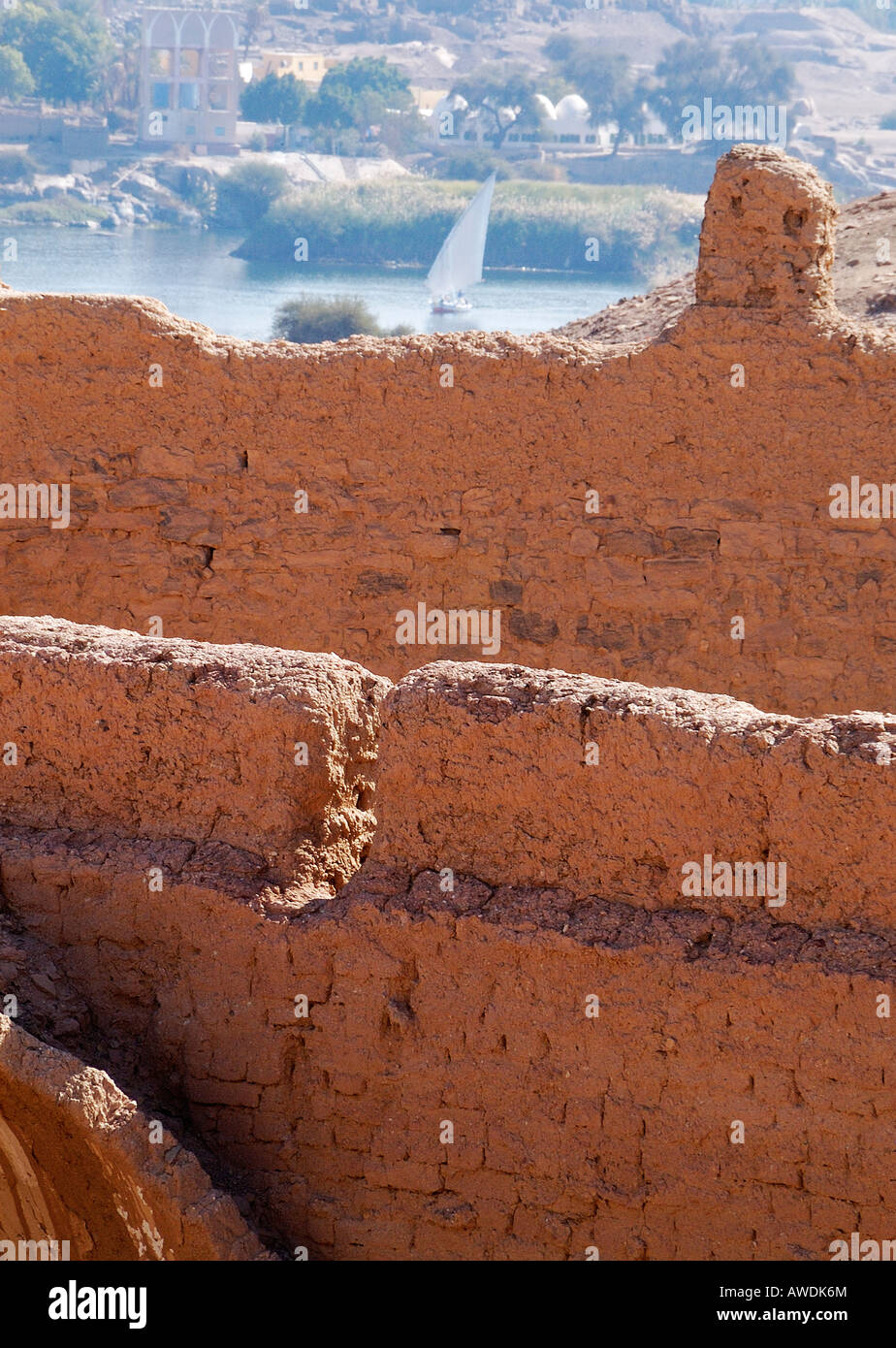 View from the ruins of the Monastery of St Simeon towards  the  river Nile at  Aswan  Egypt - Stock Image