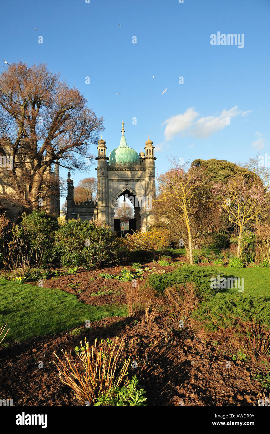Brighton Pavilion Gardens in early spring, Brighton, East Sussex, England - Stock Image