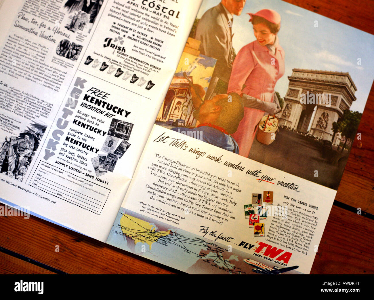 Advertising In 1950s National Geographic Magazine EDITORIAL USE ONLY