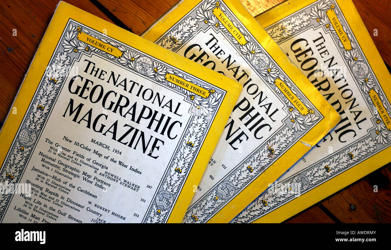 Covers of 1950s National Geographic magazines: EDITORIAL USE ONLY - Stock Image