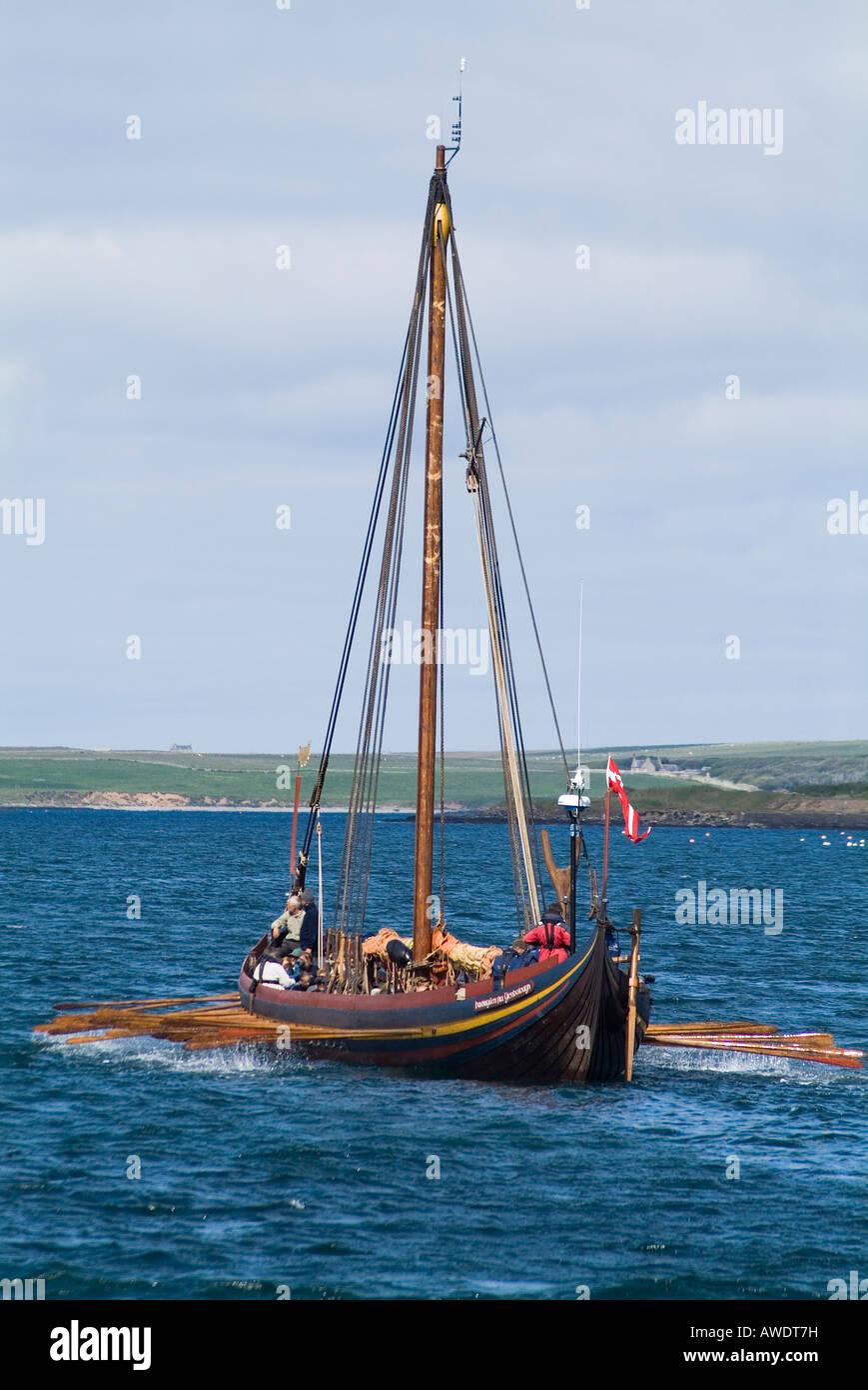 dh Viking galley Sea Stallion KIRKWALL BAY ORKNEY Havhingsten fra Glendalough long boat vikings longboat danish - Stock Image