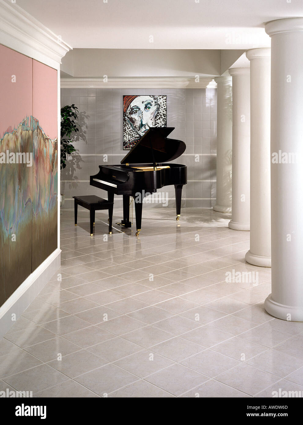 Interior room tile flooring hallway entrance grand piano doric stock interior room tile flooring hallway entrance grand piano doric columns metro style styling ceramic tile floor dailygadgetfo Images