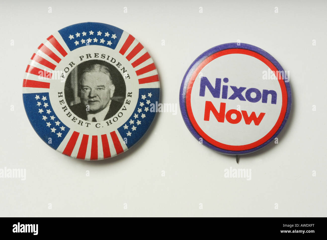 Presidential election buttons Nixon Hoover USA - Stock Image