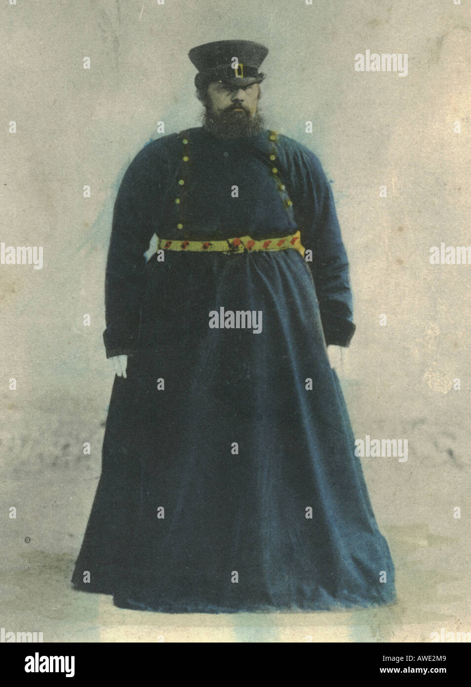 Russian postcard of coachman postally used 1904 - Stock Image