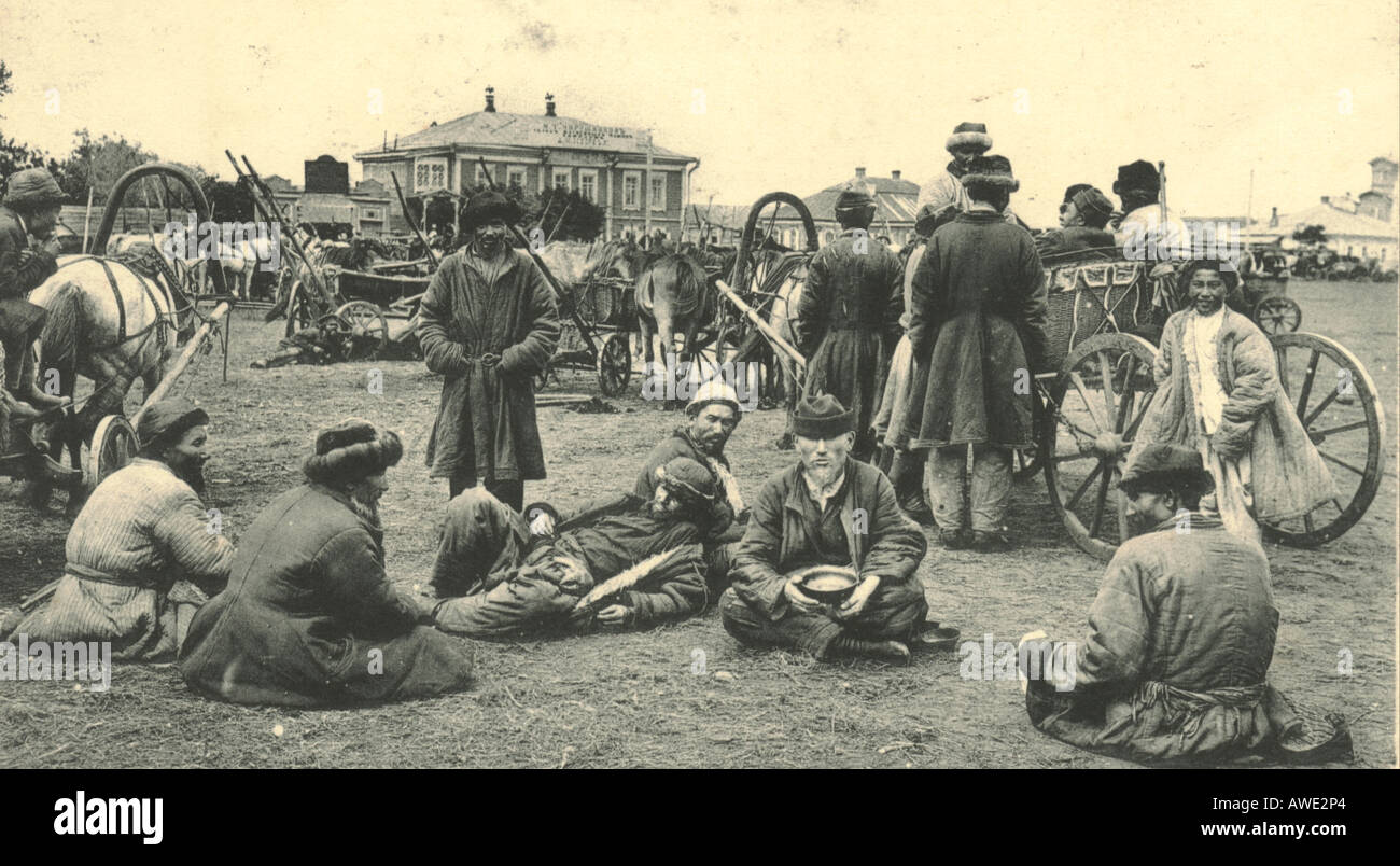 Russian postcard of Kirghizs in the market at Omsk, Russia circa 1905 - Stock Image
