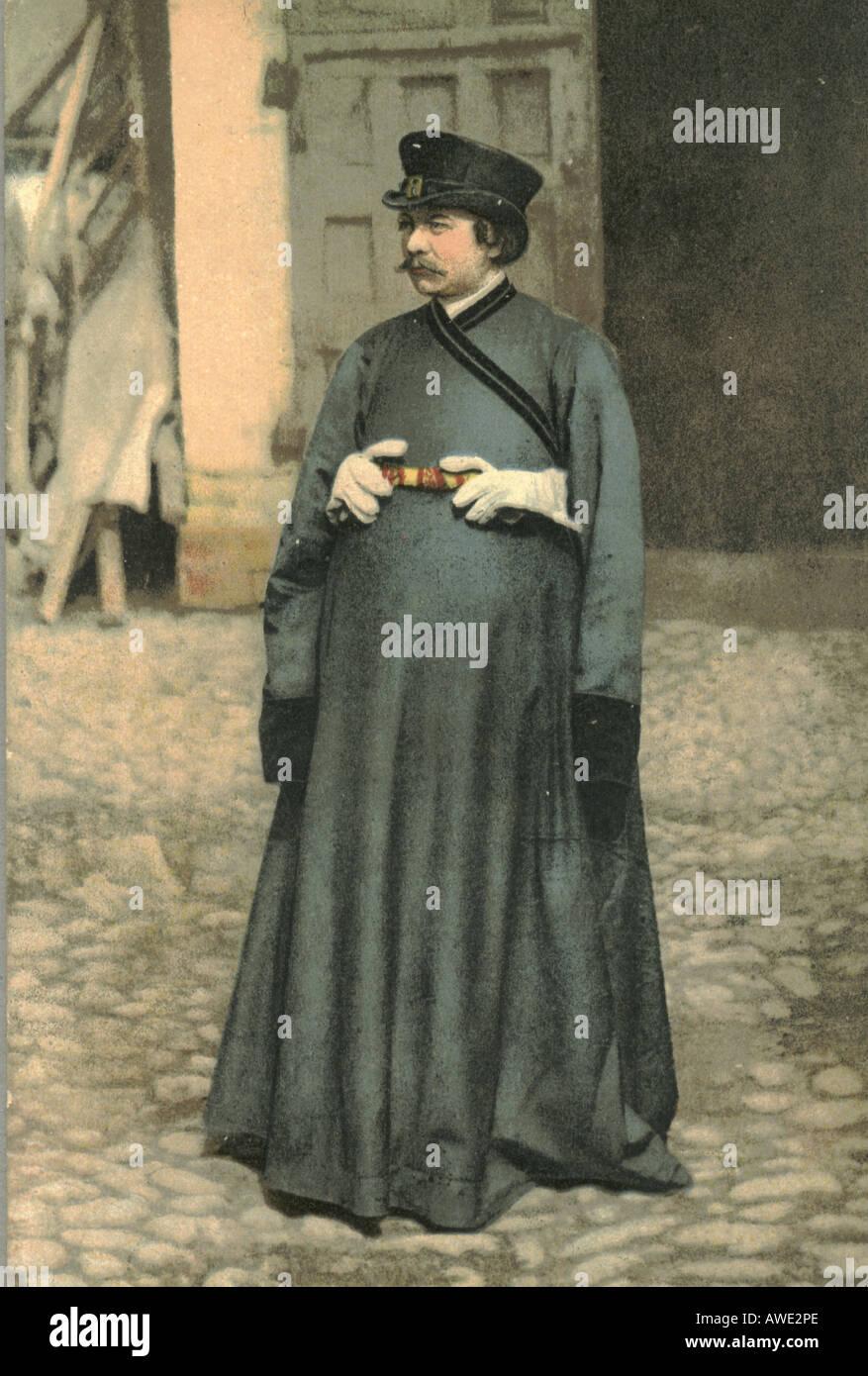 Russian postcard of a coachman circa 1910 - Stock Image