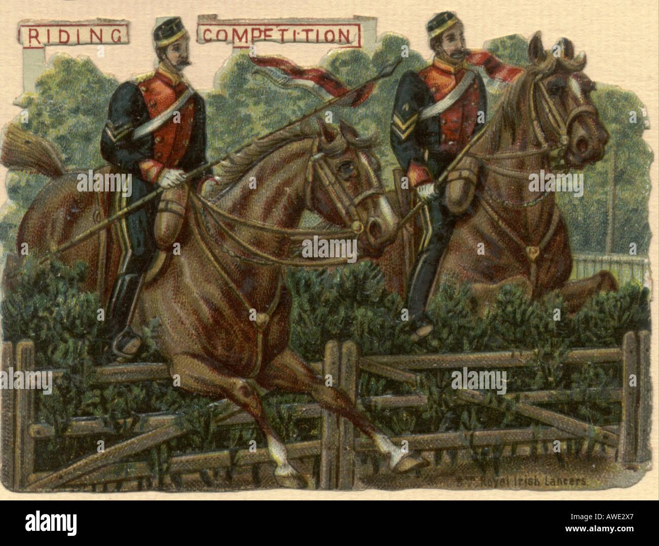 Royal Irish Lancers in Riding Competitition circa 1880 - Stock Image