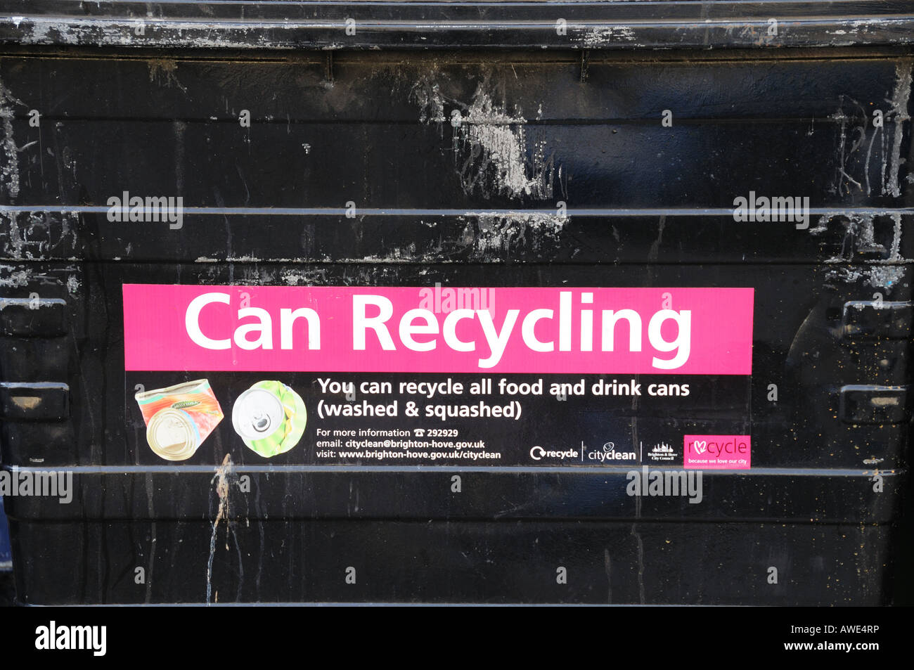 Close up of Can Recycling Logo on a black recycling bin, England - Stock Image