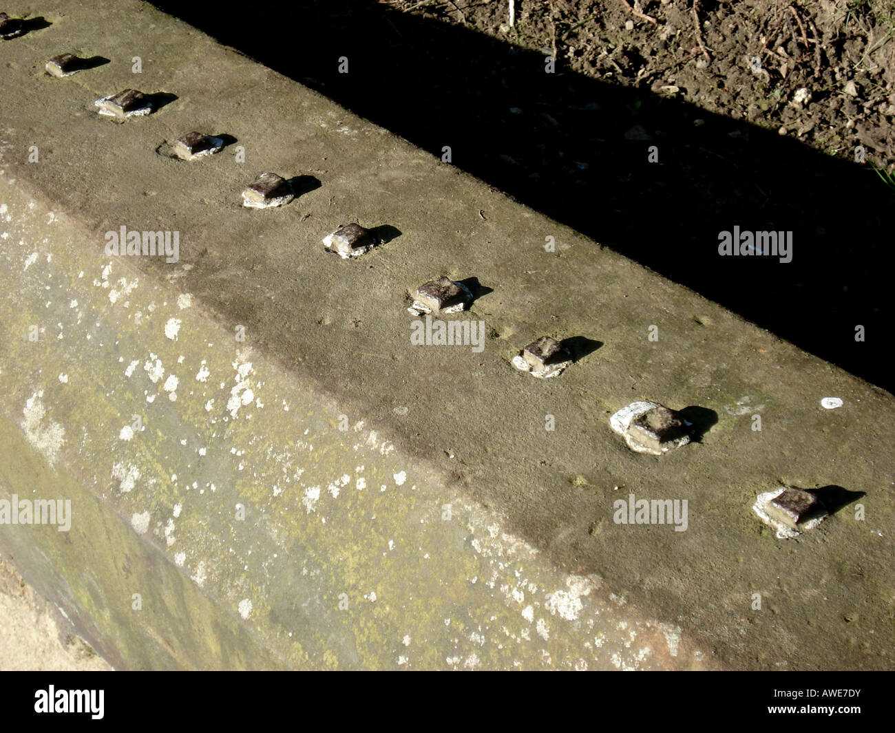 Sawn off railings from world war two - Stock Image