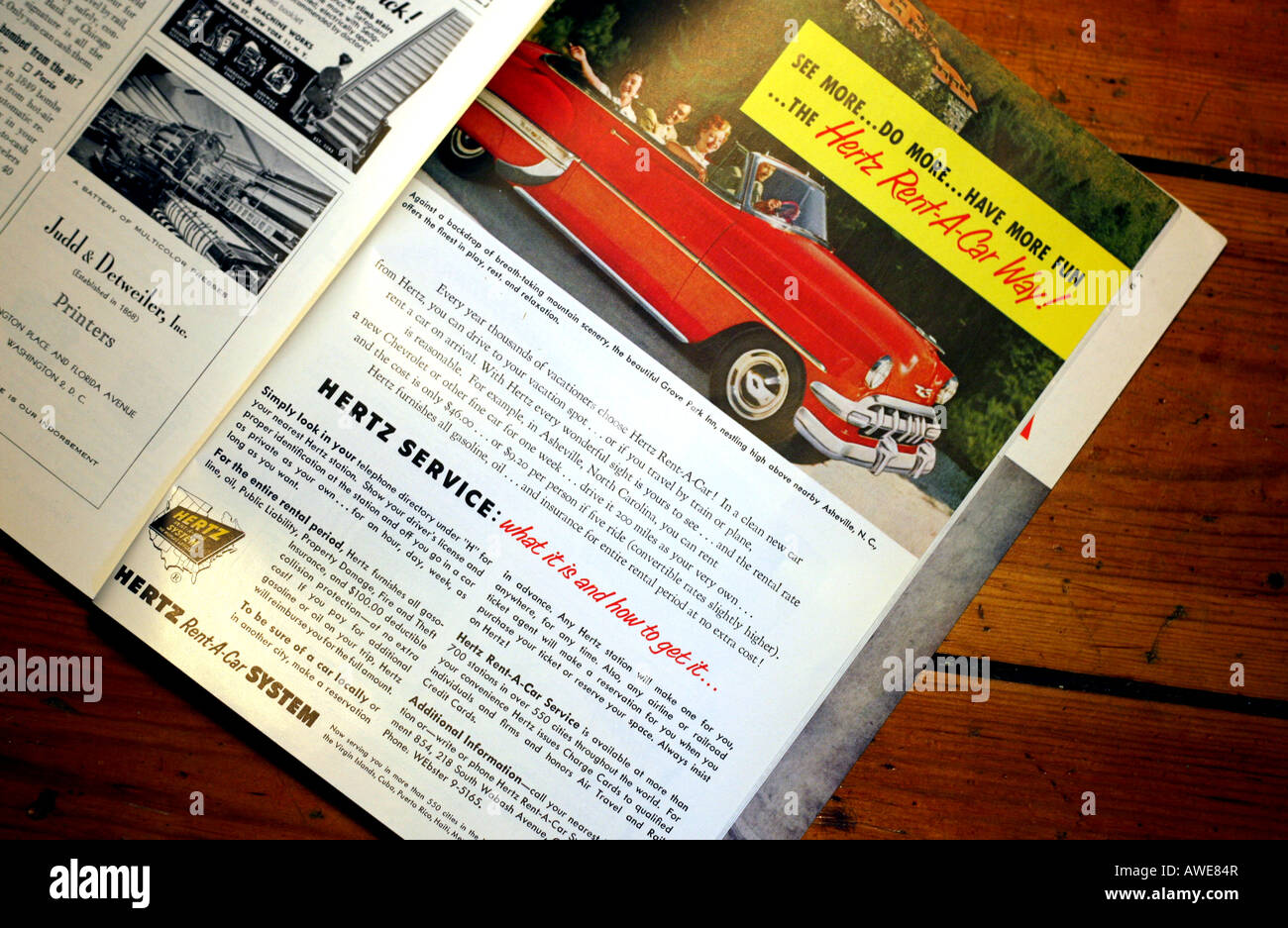 Hertz Car Rental Advert In 1950s National Geographic Magazine Stock