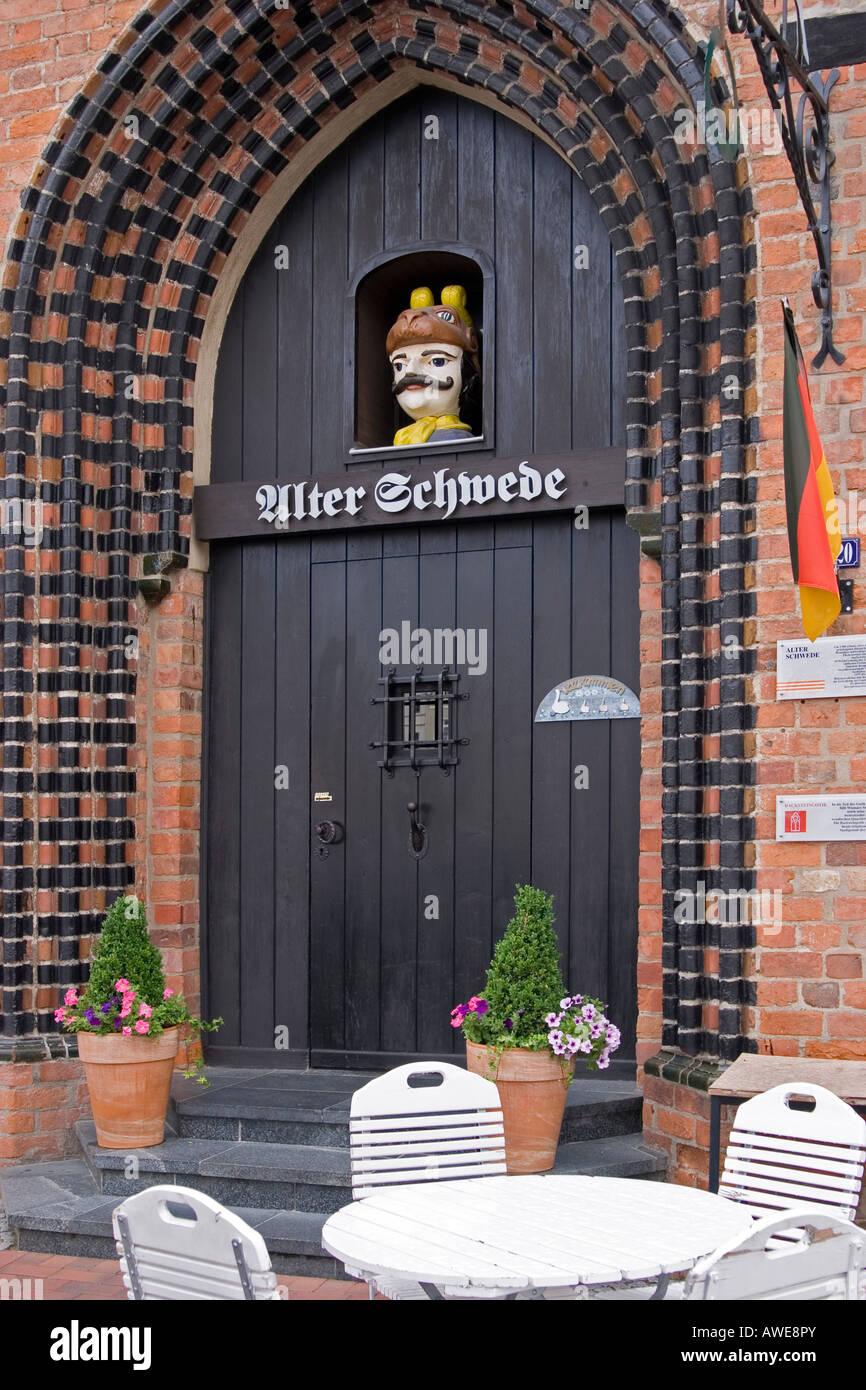 Entrance to the restaurant alter schwede in th old town of wismar, mecklenburg-vorpommern, germany . - Stock Image