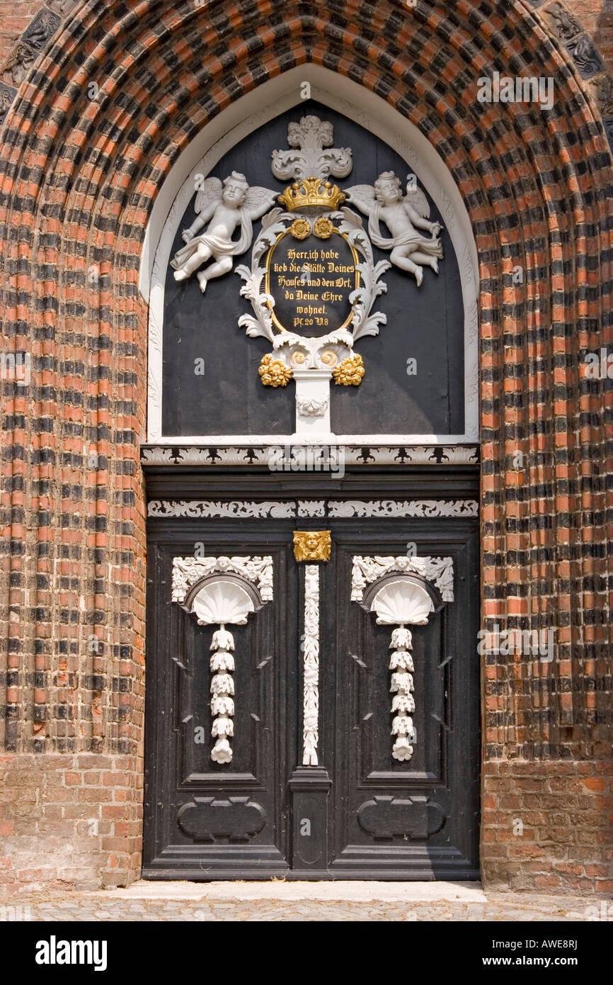 Portal of the st. georgen church in the oldtown of wismar, mecklenburg-vorpommern, germany. - Stock Image